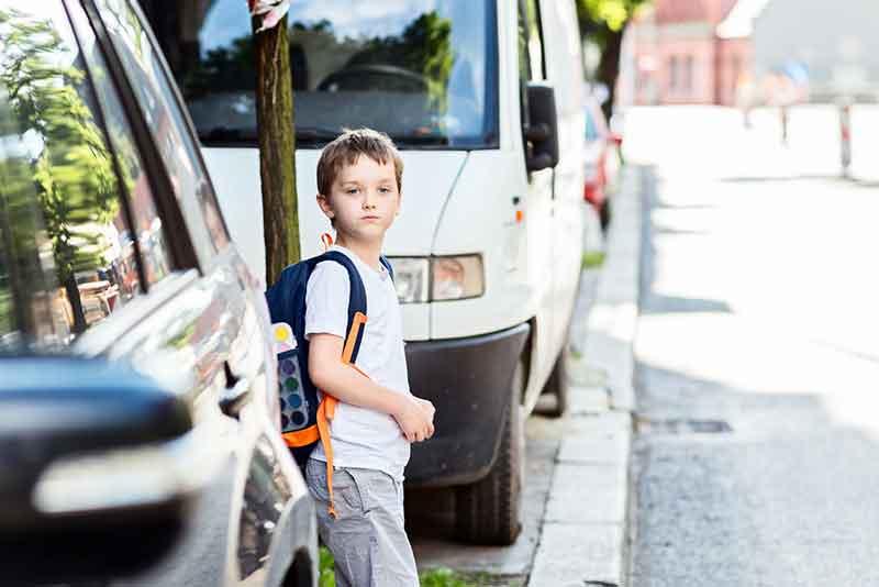 Little Boy By A Road