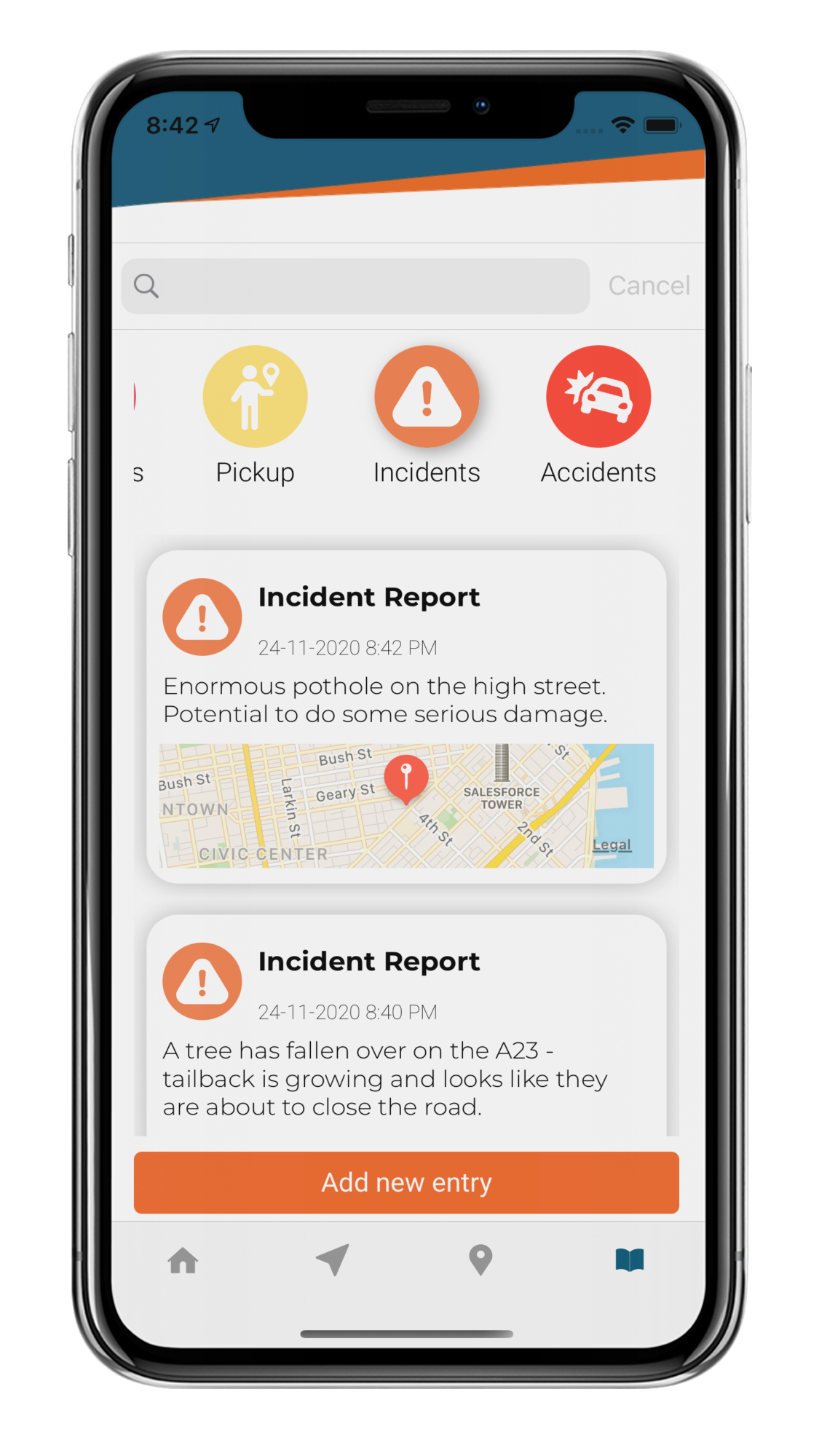 Report Incident Screen