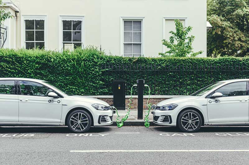 EV Volkswagen Golfs Charging